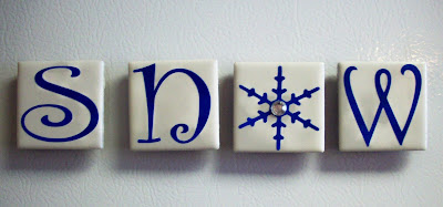 Ceramic Tile Snow Magnets