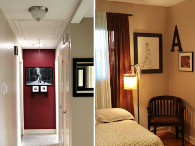 red hall wall and guest bedroom art