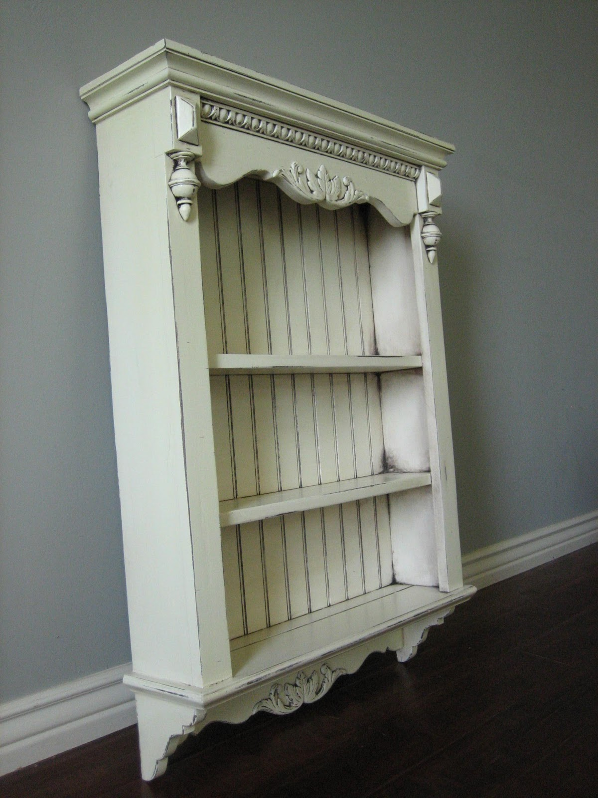 European paint finishes shabby french wall shelves both are finished in an antiqued white amipublicfo Image collections