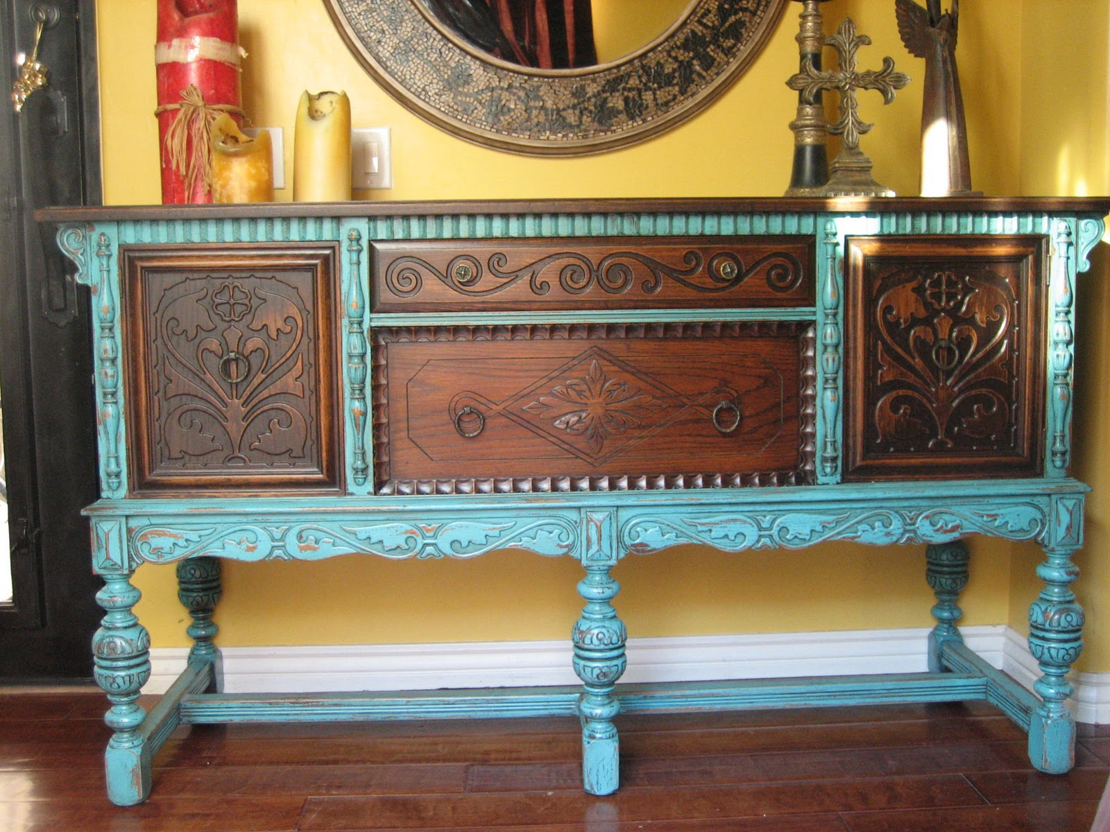 European paint finishes old world european sideboard for Distressed furniture