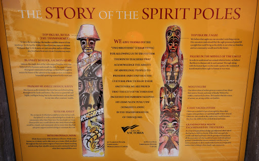 Story of the Spirit Poles, Spirit Square, Centennial Square, Lekwammen, Totem Pole, Victoria, BC, Canada
