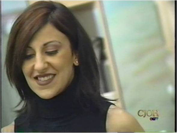 Emanuela during a TV Make Over Show appearance