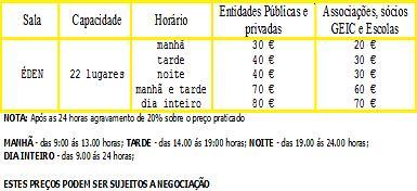 SALA ÉDEN - TABELA DE PREÇOS 2010
