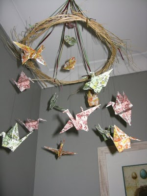 Chamomile and Peppermint - Lucy's Calm Grey Green Nursery - Bird Crane Origami Mobile