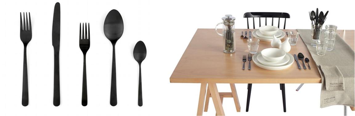 Black white yellow black flatware at dwr - Almoco flatware ...