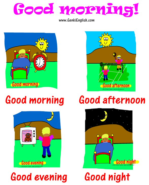 Good Morning One Word Or Two : Englishclass saludos greetings