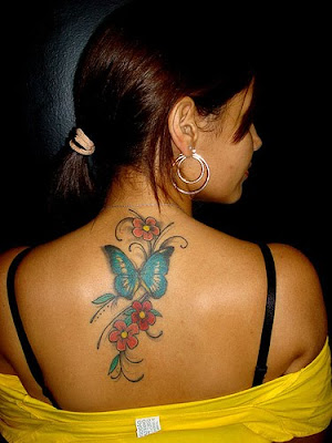 Nice Butterfly and Flower Tattoo for Girls. Nice Butterfly and Flower Tattoo