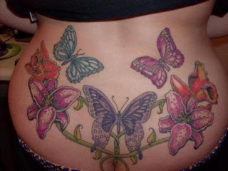 Tattoo Body Art Butterfly and Flower Tattoo