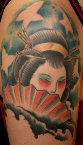 Geisha Woman Hiding Behind Fan Tattoo