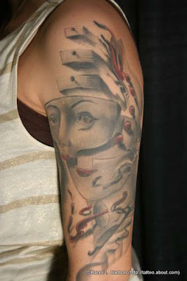 Tattoo gallery puzzle face mask sleeve tattoo for Face mask tattoo