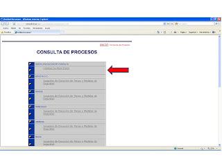 CONSULTA DE PROCESOS, donde se selecciona la primera opción, CONSULTA