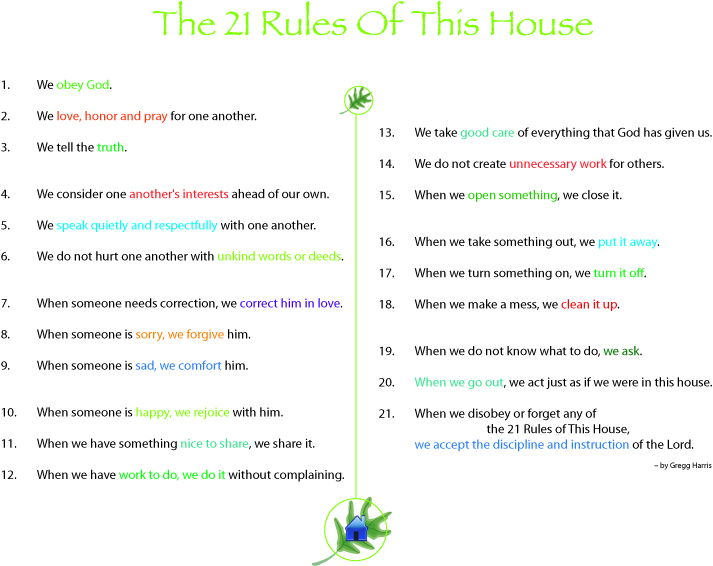 what are the 21 rules of this house