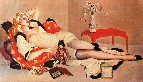 The classic Alberto Vargas pin-up girl