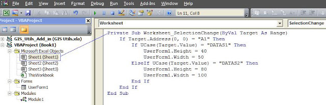 Resize Form using Worksheet Event macro