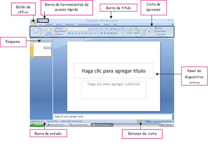 Pantalla principal de Microsoft Power Point 2007 con sus partes