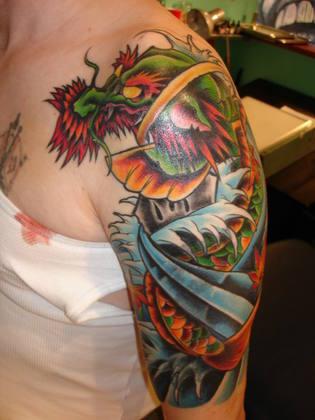Dragon Tiger 3/4 Sleeve Tattoo