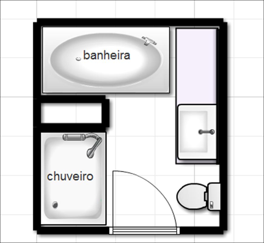 Meu primeiro Apê Projeto Banheiro com Banheira -> Planta De Banheiro Com Banheira Dupla