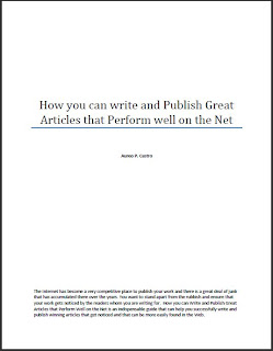 Snapshot of the cover of the PDF document How you can Write and Publish Great Articles that Perform Well on the Net