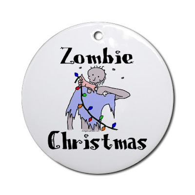 funny zombie christmas t-shirt zombie eating arm with christmas lights