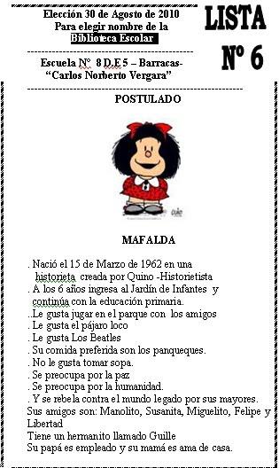 Biblioteca Mafalda Escuela 8 De 5 Proyecto De Imposici N