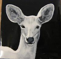 grisaille enamel spirit deer