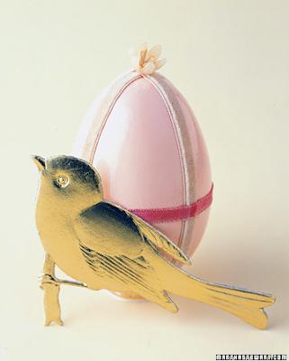 Velvet trimmed eggs by Martha Stewart