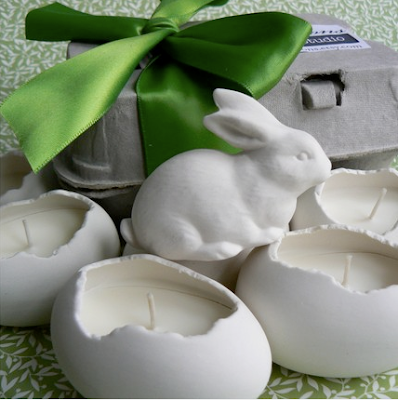 Porcelain bunny and egg by Revisions on Etsy