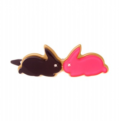 Bunny kisses hairslide by Anna Lou