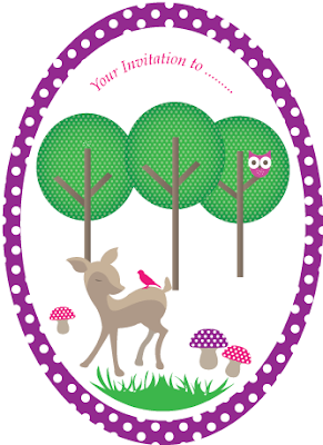 Woodland theme invite purple by Torie Jayne