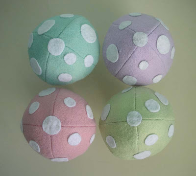 Easter felt mushrooms from above