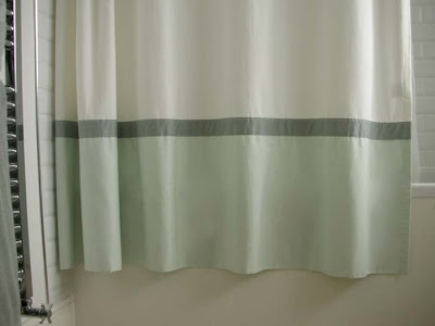 Banded sateen shower curtain and clear vinyl liner fro Restoration Hardware