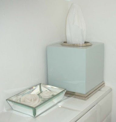 Newbury enamel tissue box cover from Restoration Hardware and mirrored soap dish from Marks and Spencer