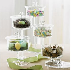 Glass pedestal jars