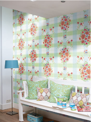 Check floral wallpaper by Pip