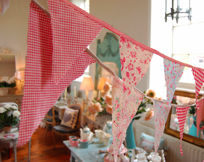 Bunting made from vintage fabric