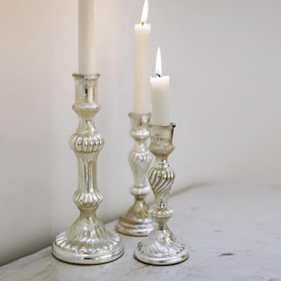 Mercury silvered candlesticks