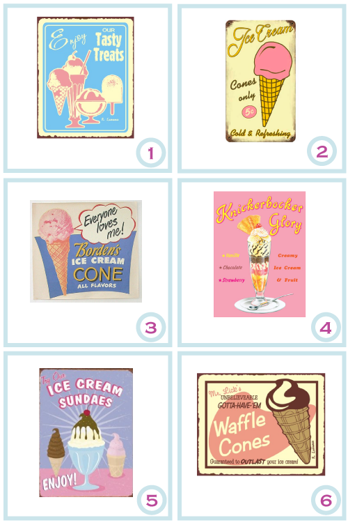 Vintage ice cream tin signs by Torie Jayne