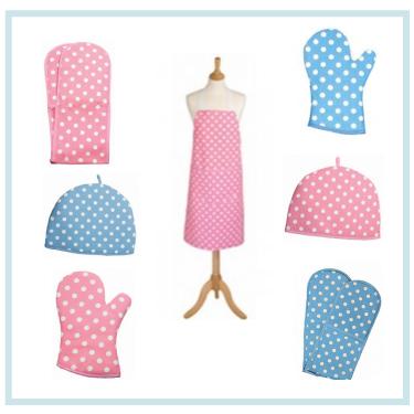Polka dot kitchen linens from Variete by Torie Jayne