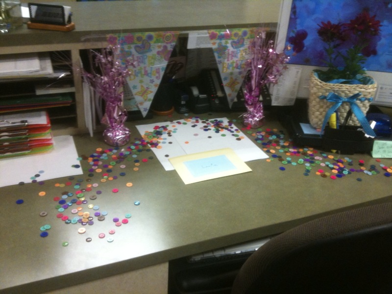 Paper, Ribbon and Ink: Decorated desk for a birthday and Easter
