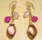 Pink Mystic Quartz and Sapphire Earrings