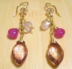 Pink Mystic Quartz and Sapphire Earrings