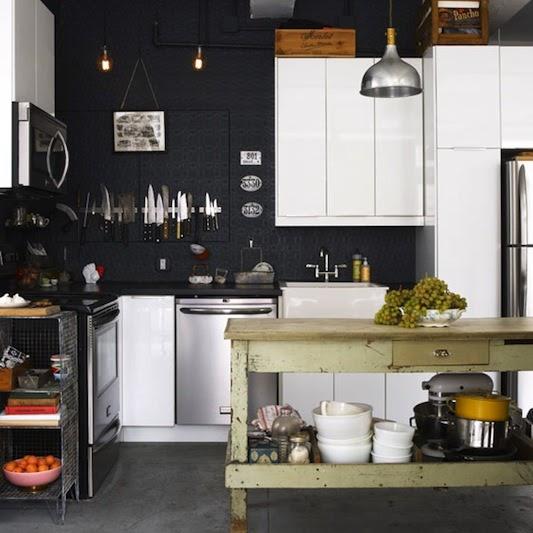 Black White Kitchen Wallpaper