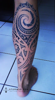 calf tattoo photos maori design