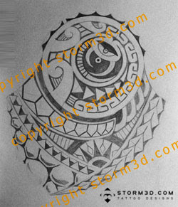 shoulder turtle dj tattoo design in tribal polynesian style
