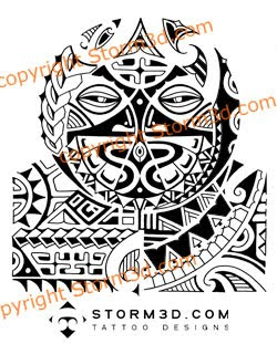 tribal polynesian mask tattoo for shoulder