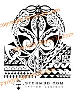 polynesian lizard and mask tattoos for the shoulder