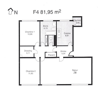 Appartement f4 boissy st leger plan de l 39 appartement for Plan appartement