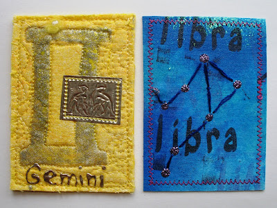 Gemini card from Karen Swiech (USA) and Libra card from Aynsley McKay (USA)  have came in; still waiting for Virgo card to complete all the 12 signs.