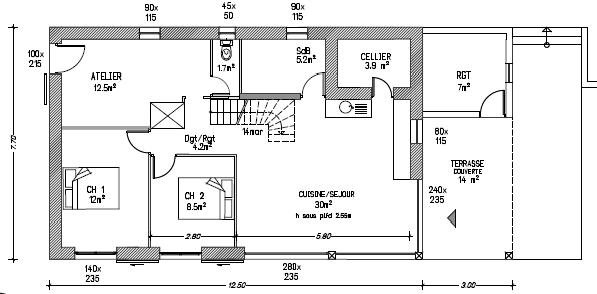 Plan de maison en longueur - Plan maison en longueur ...