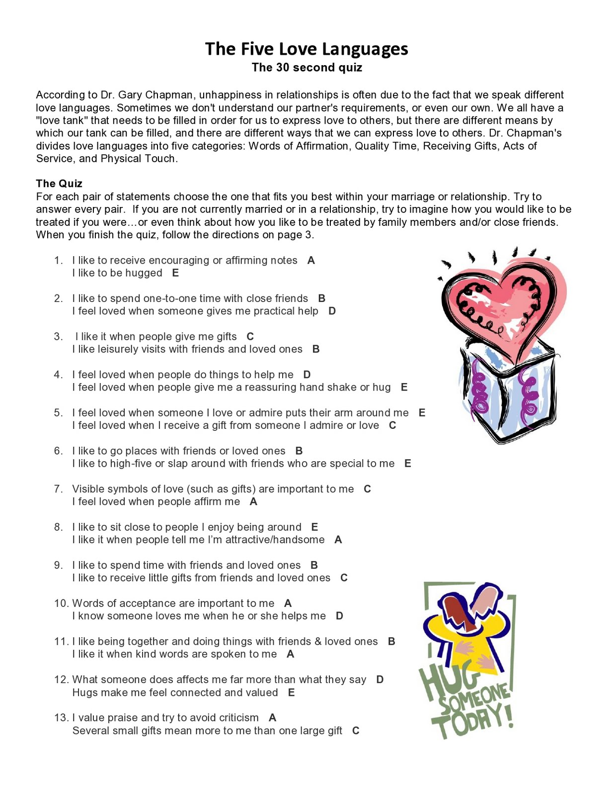 5 Love Languages Test Printable